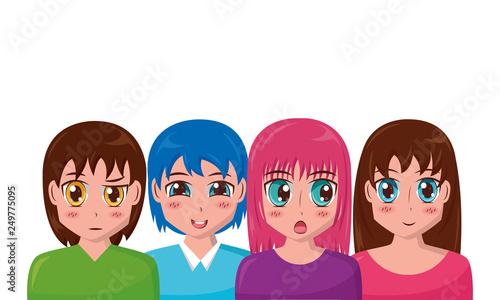 anime girl group manga comic - 249775095
