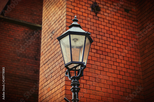 old metal street lamp in a day time