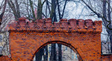 Old brick arch gates in a medieval church