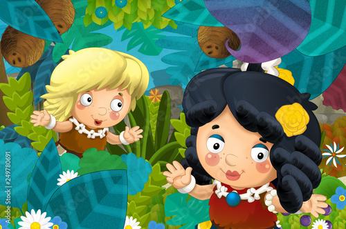 cartoon scene with caveman barbarian warrior woman in the jungle illustration for children - 249780691