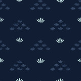 Indigo blue stylized flower grass pattern. Seamless repeating. Hand drawn trendy floral vector illustration. Geometric petal in japanese style background. Asian kimono fashion, simple home decor. - 249782247