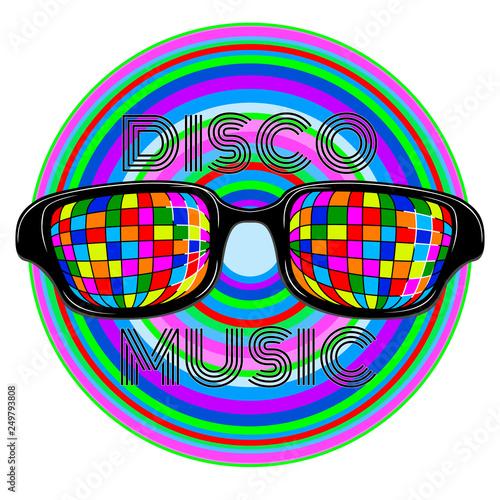 Disco music label with colored glasses. Vector illustration design - 249793808