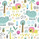 Safari animals seamless pattern with cute elephants, lion and tropical plants. Vector texture in childish style great for fabric and textile, wallpapers, backgrounds. Pastel colors. - 249811279