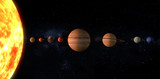 Planets on the solar system in a line. 3D rendering, elements of this image furnished by NASA