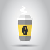 Coffee, tea cup icon in flat style. Coffee mug vector illustration on white background. Drink business concept.