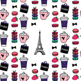Seamless pattern coffe and macaroons. Paris style Eiffel tower. Surface design. Vector sketch illustration.