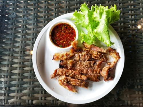 Grilled beef with spicy sauce - 249844222