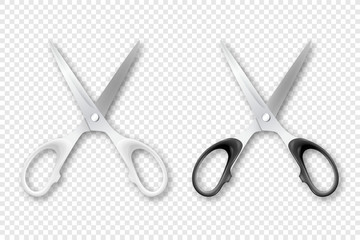 Vector 3d Realistic White and Black Metal Opened Stationery Scissors with Plastic Handles Icon Set Closeup Isolated. Design Template of Classic Scissors for Graphics, Mockup. Top View