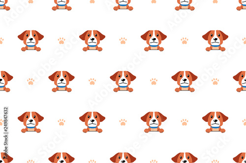 mata magnetyczna Vector cartoon character cute dog seamless pattern background for design.