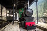 Old small steam locomotive in the train station. Sarganska Osmica railway in Bele Vode - Mokra gora, Serbia.