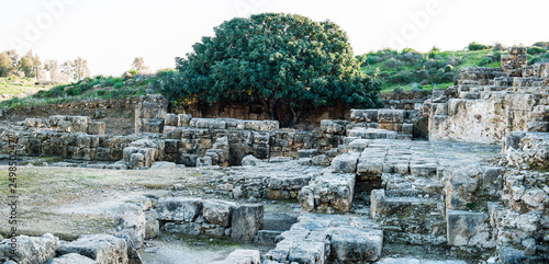 Ancient caves and catacombs in Cyprus, myths of old Paphos, the museum under the open sky - 249850247
