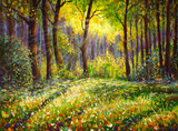 Oil painting on canvas modern impressionism Sunny forest landscape