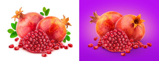 Ripe pomegranate fruits with pomegranate leaves isolated on white background © xamtiw