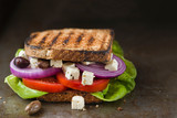 feta and fresh vegetables sandwich light meal - 249873837
