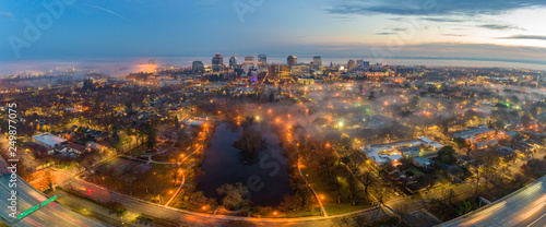 Aerial view of downtown Sacramento at sunset - 249877075