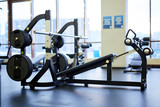 Fitness equipment for physical exercising inside large contemporary sports center