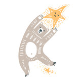 Vector childish hand-drawn illustration. A polar bear flies in space holding onto a star