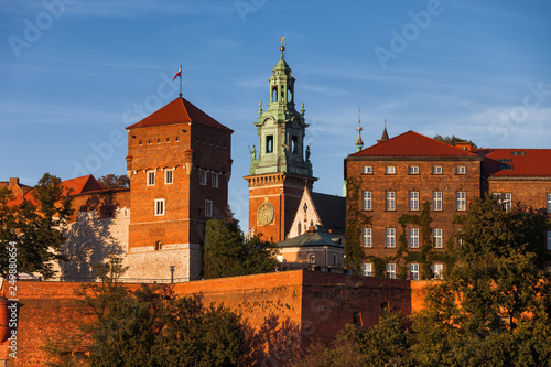 Wawel Castle and Cathedral Tower in Krakow
