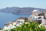 Beautiful view from Santorini down to the sea