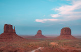 Sunset view at Monument Valley, Arizona, USA. Teal and orange style