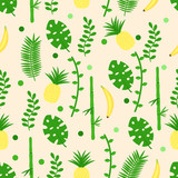 seamless pattern with banana leaves pineapple - vector illustration, eps