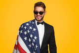 Elegant man with USA flag