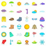 Summer weather icons set. Cartoon style of 36 summer weather vector icons for web isolated on white background - 249887464