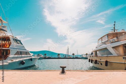 yachts in city bay at hot summer day
