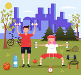 Man and woman couple characters doing sport in park. Sport fitness concept. Vector flat design graphic illustration