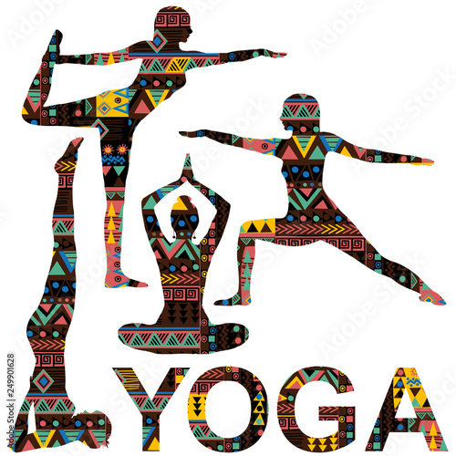Yoga background with silhouettes ornate with ethnic motifs
