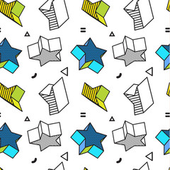 Vector seamless pattern, colorful pattern with 3d graphic stars in pop art style. You can use this as a wallpaper in a childrens room