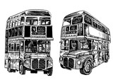 Graphical set of double decker buses isolated on white background,vector sketch ,London transport