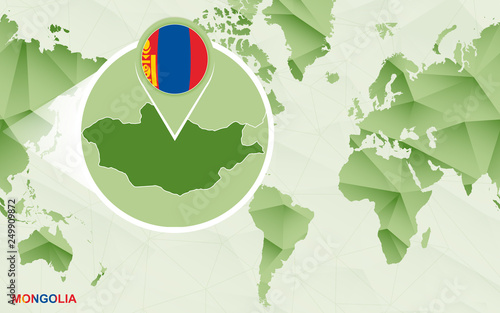 America centric world map with magnified Mongolia map.