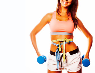 young pretty slim woman with dumbbell isolated © iordani