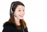 Phone operator call center woman smiling looking at you on white background