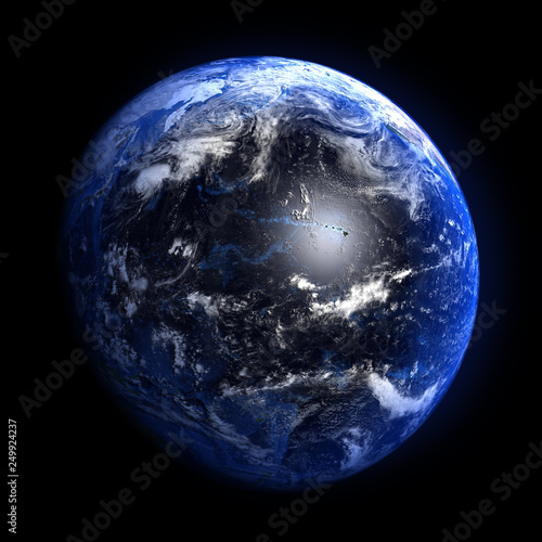 The Earth from space showing the Pacific ocean. Elements furnished by NASA.