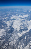 High altitude view of the frozen tundra in northern Canada.