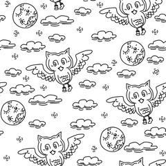 Seamless pattern owl