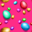 Seamless pattern of realistic colored Easter eggs with shadows on pink background
