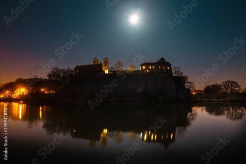 benedictine abbey in Tyniec at night, Poland