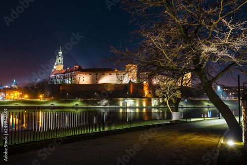 Wawel hill with castle at night, Poland