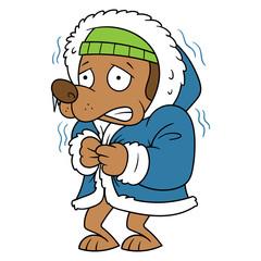 Vector Cartoon Cold Dog Shivering