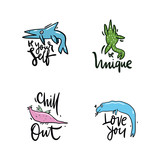 Fototapeta Dinusie - Vector illustration set of fantasy dinosaur. Hand drawn lettering phrase. Isolated on white background. Design for decor, cards, print, web, poster, banner, t-shirt © Octyabr