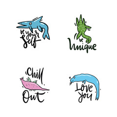 Vector illustration set of fantasy dinosaur. Hand drawn lettering phrase. Isolated on white background. Design for decor, cards, print, web, poster, banner, t-shirt