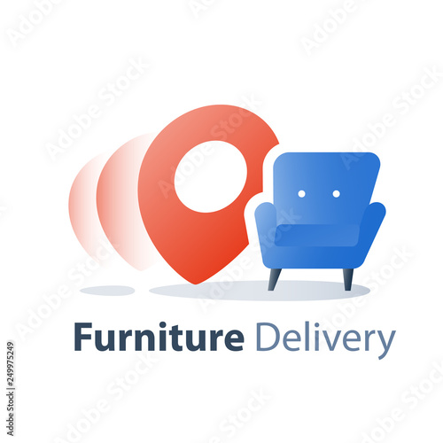 Move In Home Furniture Delivery Service Fast Relocation Armchair Icon