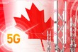 Canada 5G industrial illustration, large cellular network mast or tower on modern background with the flag - 3D Illustration