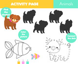 Fun activity page for kids. Educational children game. Animals theme coloring page, connect the dots, find shadow set