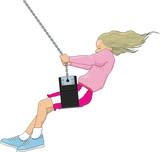 Girl in Swing Vector Illustration