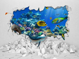 3D Wallpaper design with brken wall and fishes from aquarium for photomural
