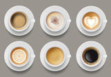 Coffee mug top view. Cappuccino espresso latte milk brown coffee vector realistic template. Cappuccino and latte, espresso coffee illustration - 249995833